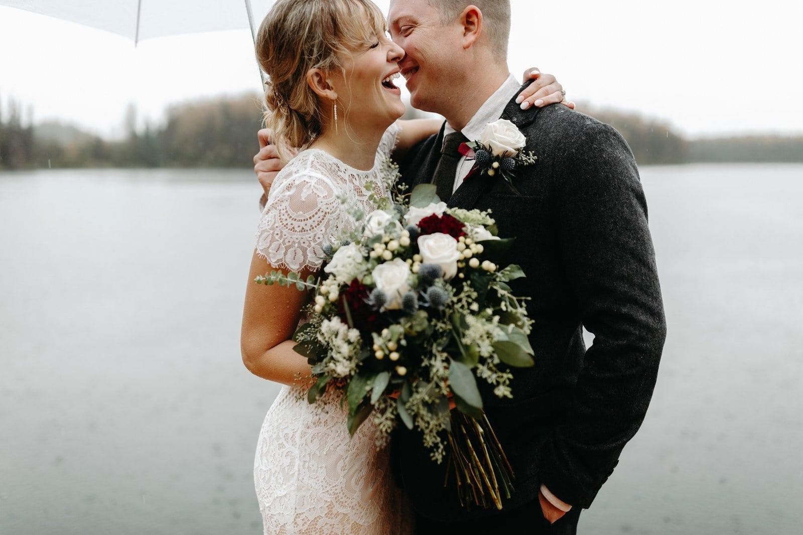 fun rainy wedding portraits