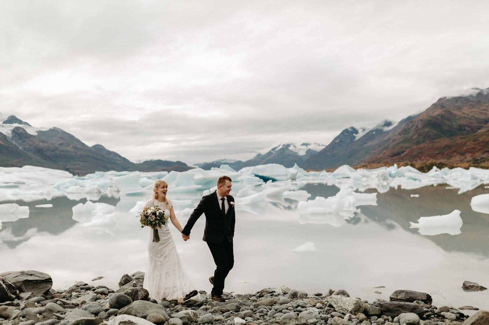 fun Alaska elopement photos