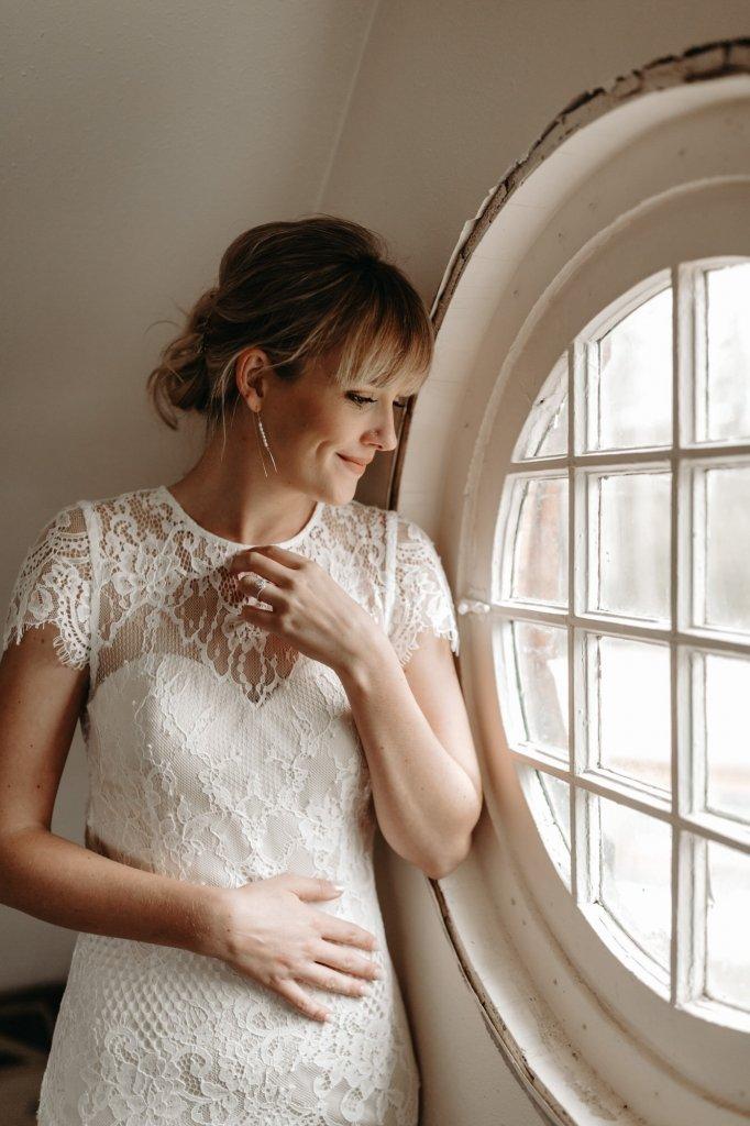 detail shot of bride