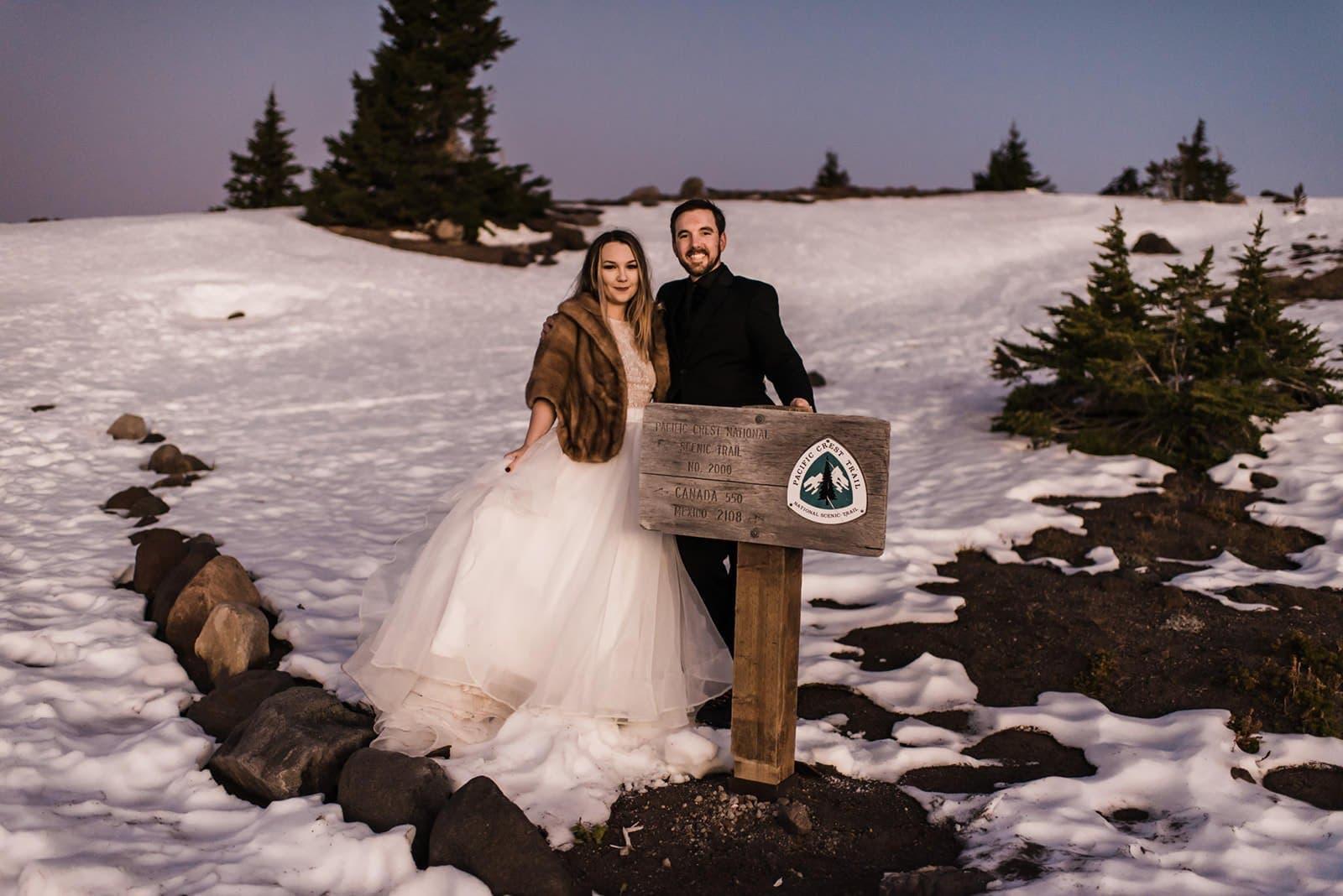bride and groom at mt. hood