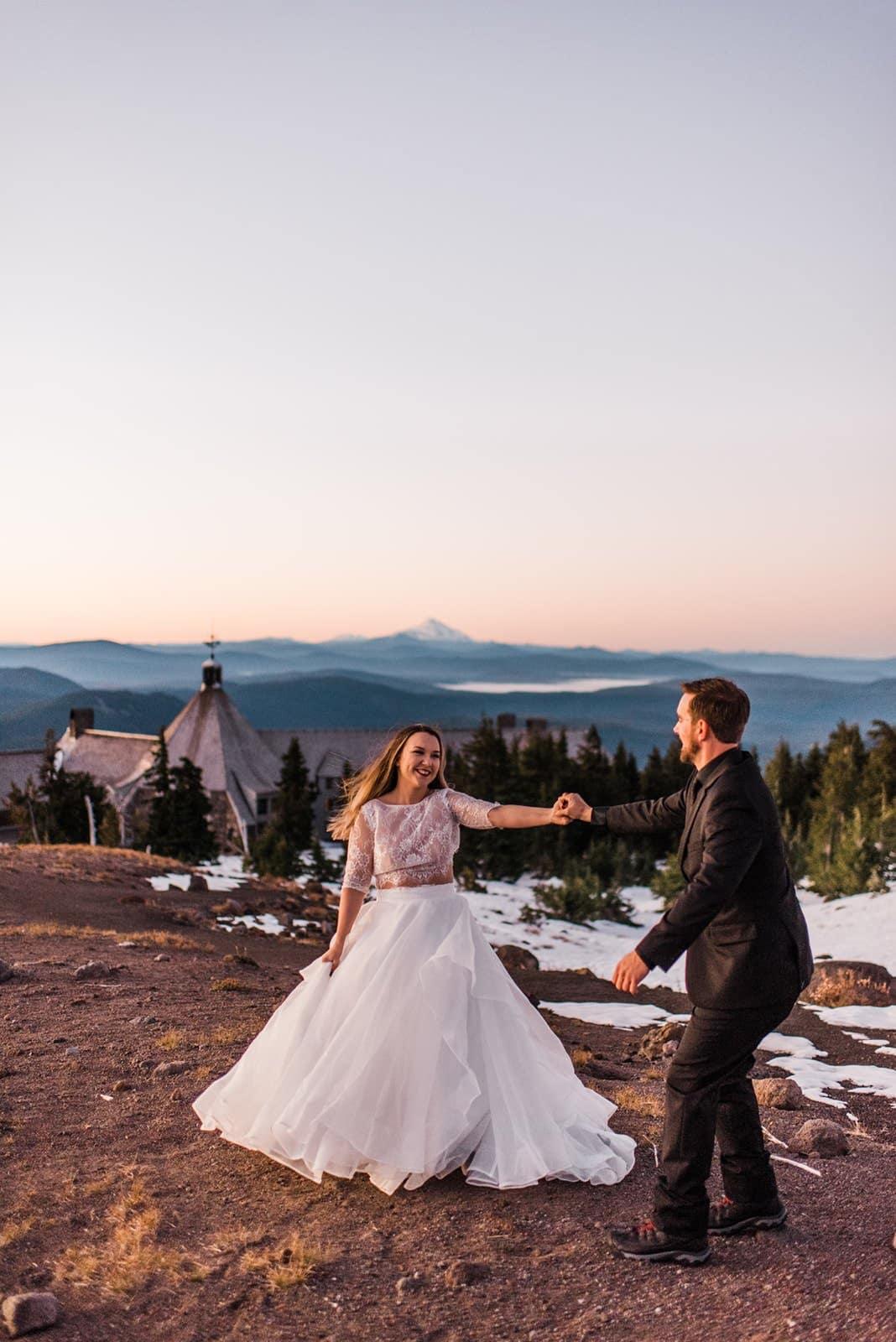 first dance at a mountain elopement