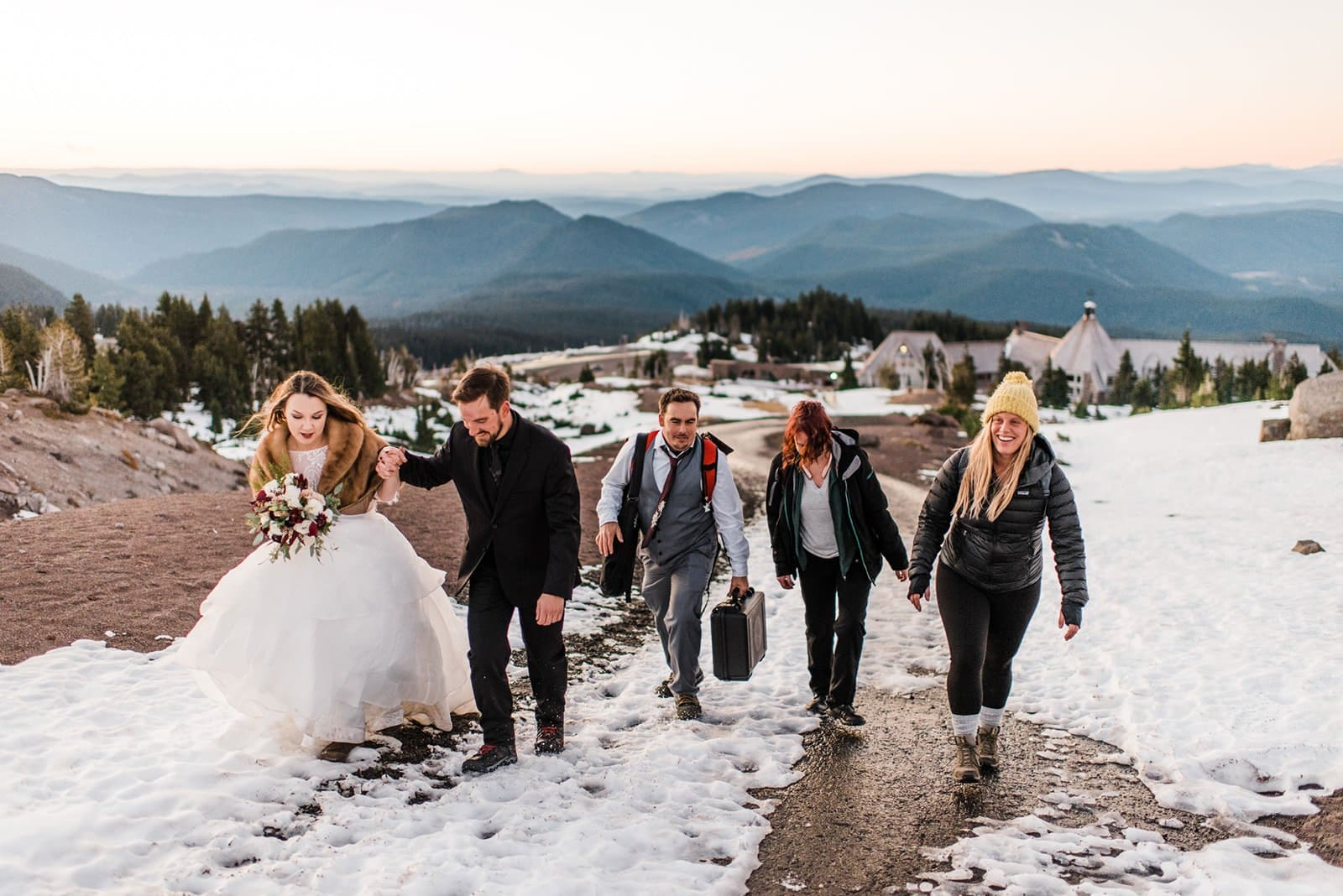 bridal party walking to ceremony