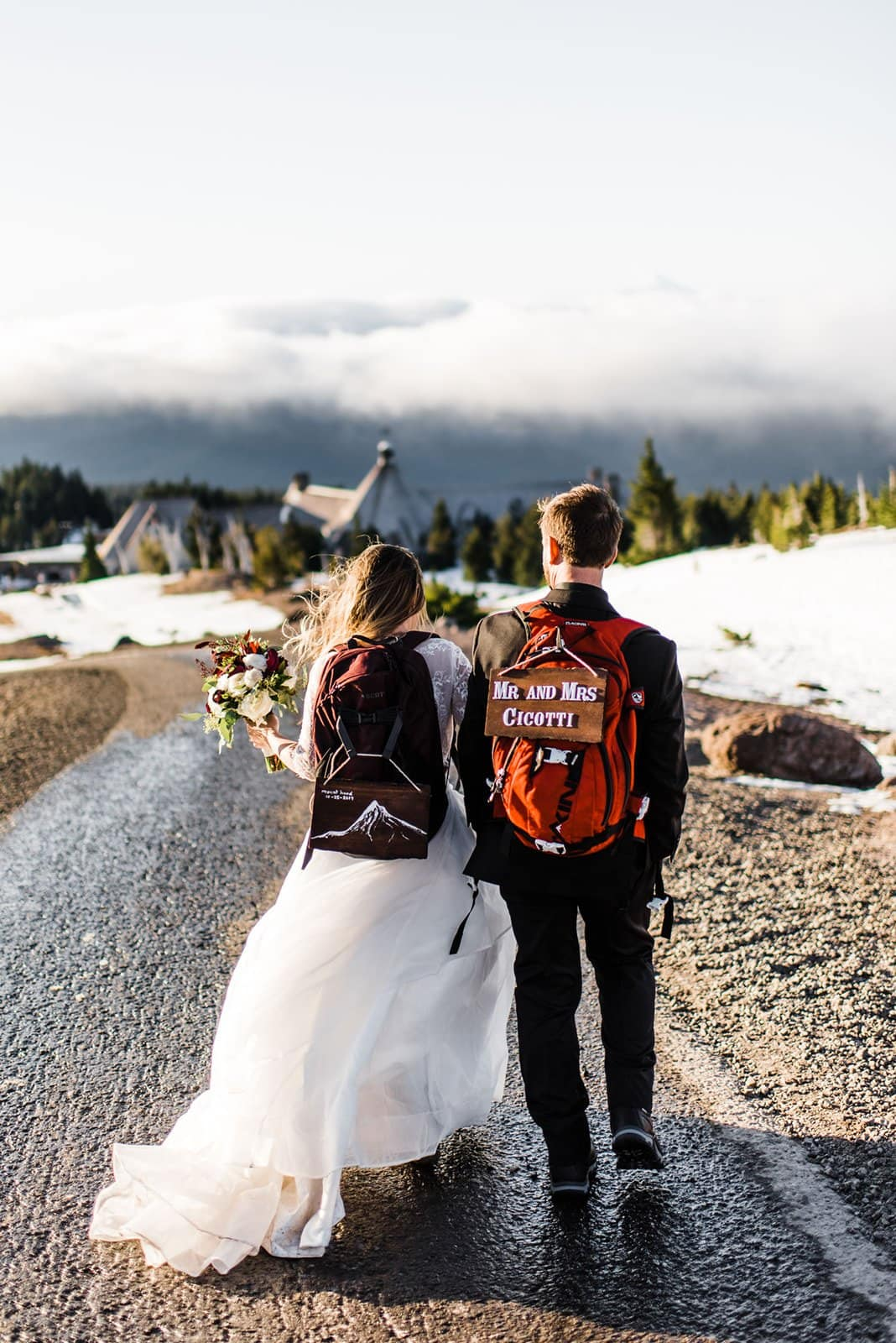 bride and groom during mountain elopement