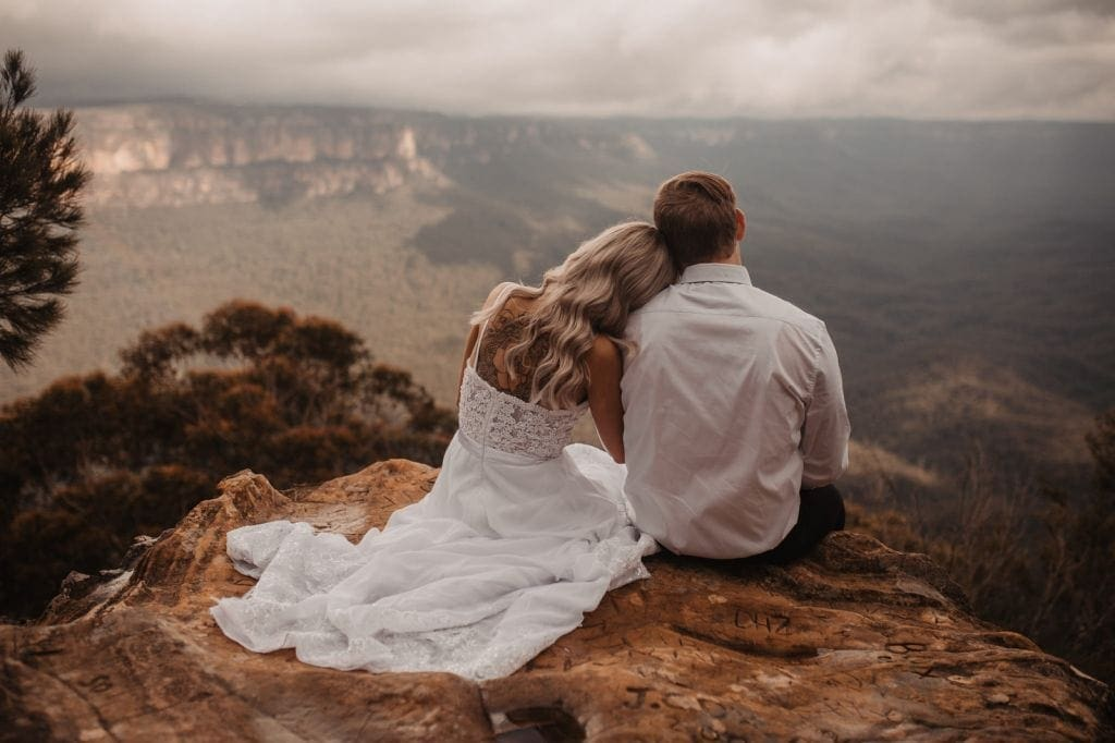 couple enjoying the view after their australia elopement