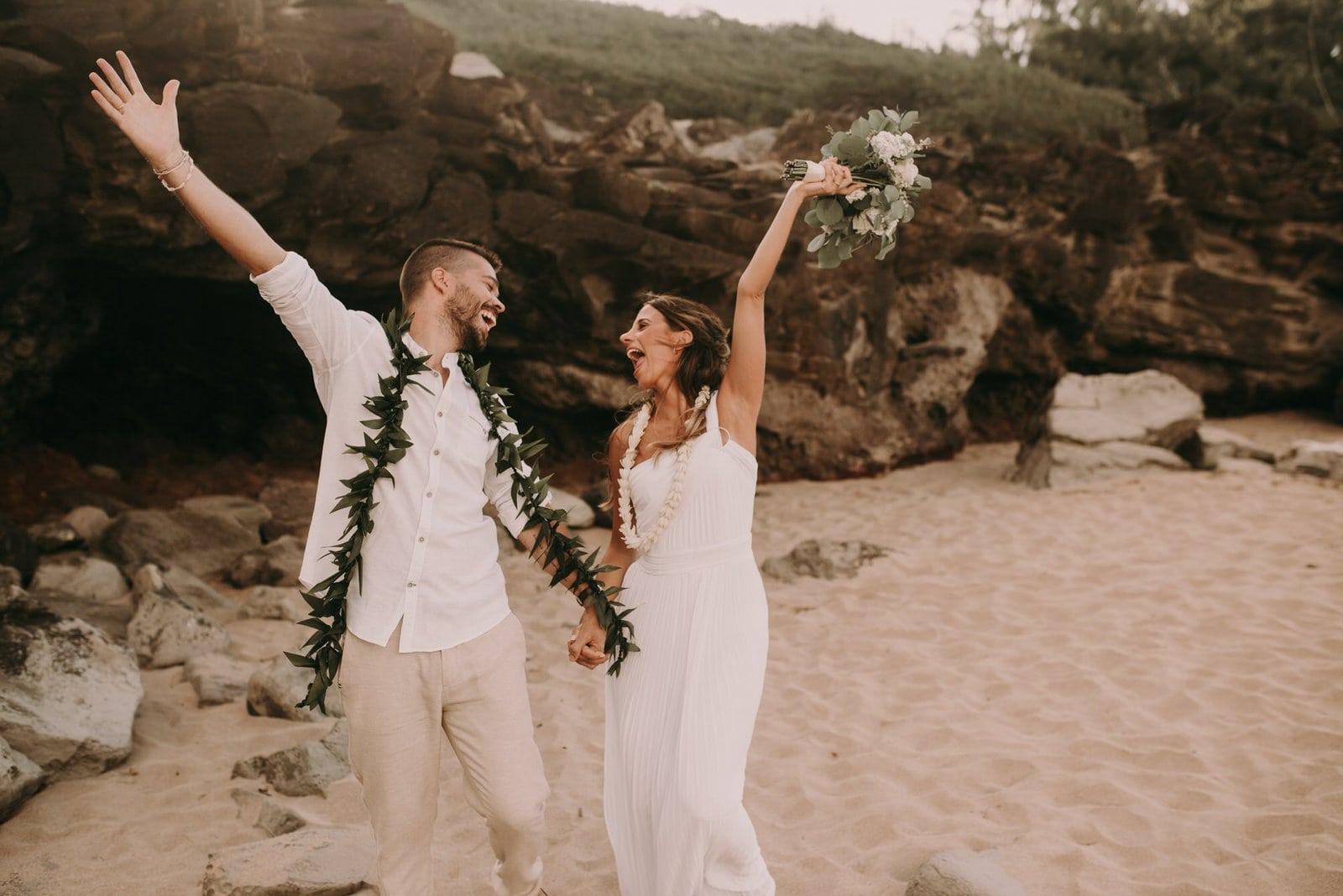 groom and bride celebrating