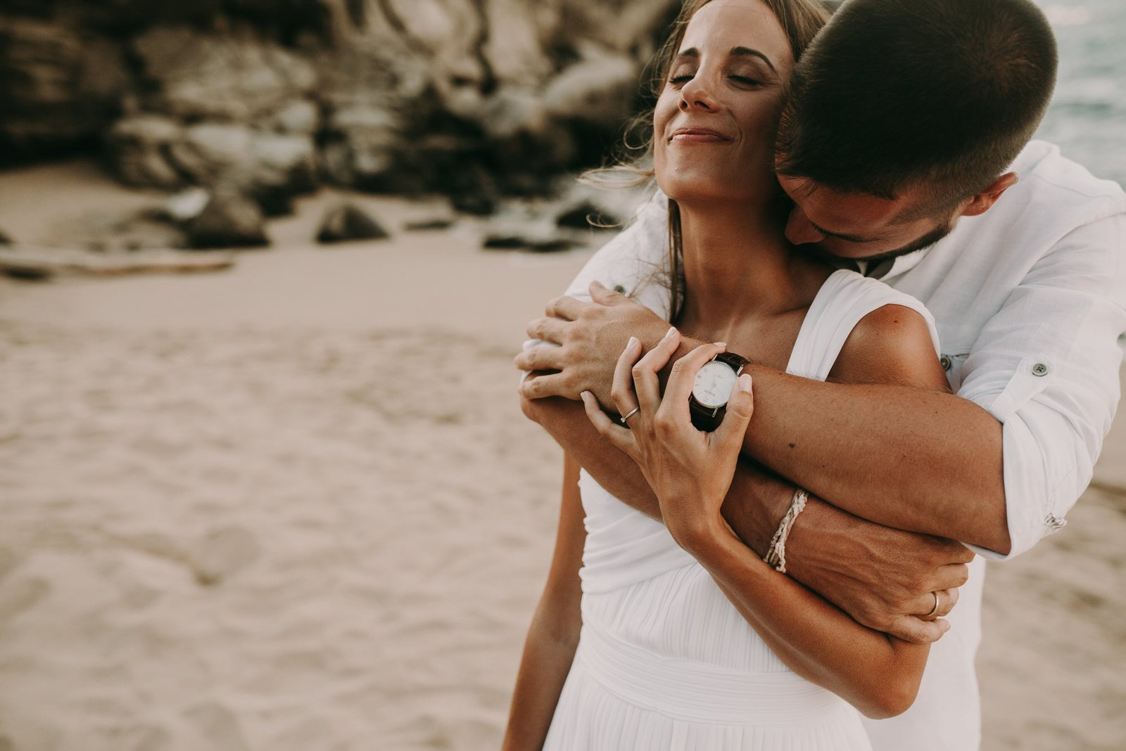 intimate moment after ceremony in hawaii