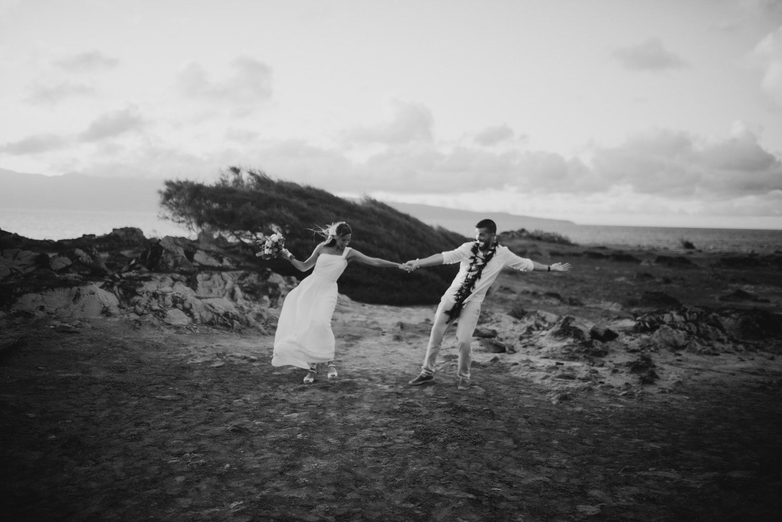 bride and groom celebrating marraige