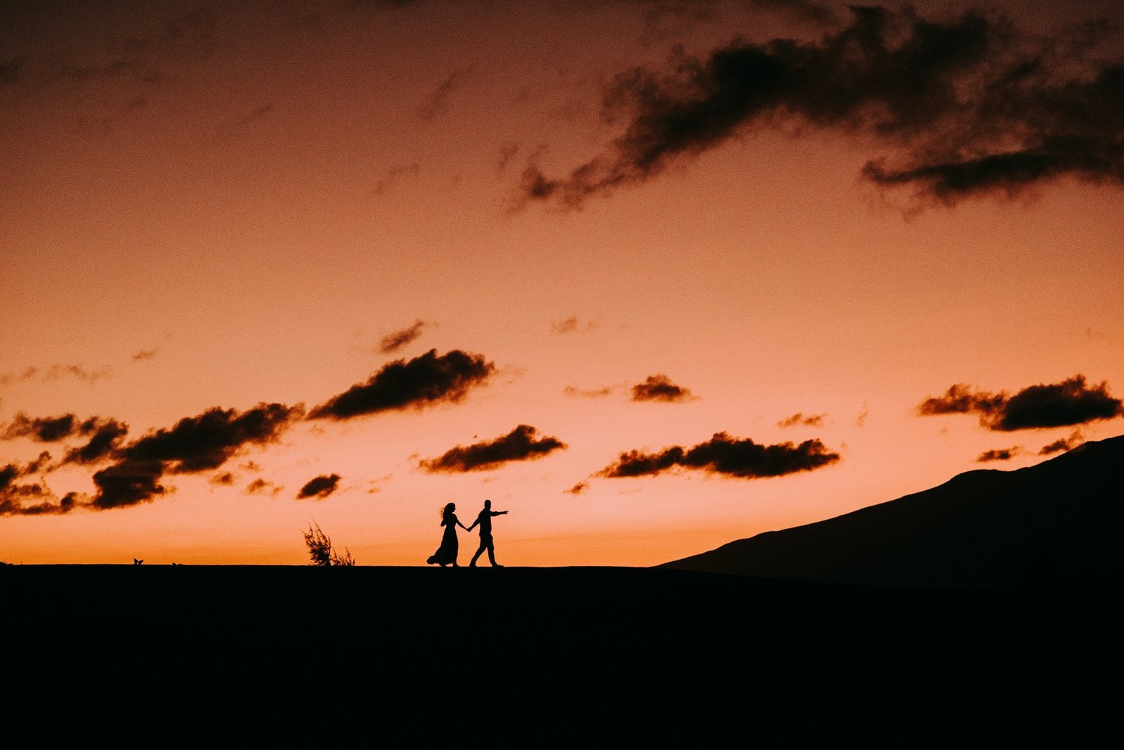 sunset bride and groom at the end of elopement