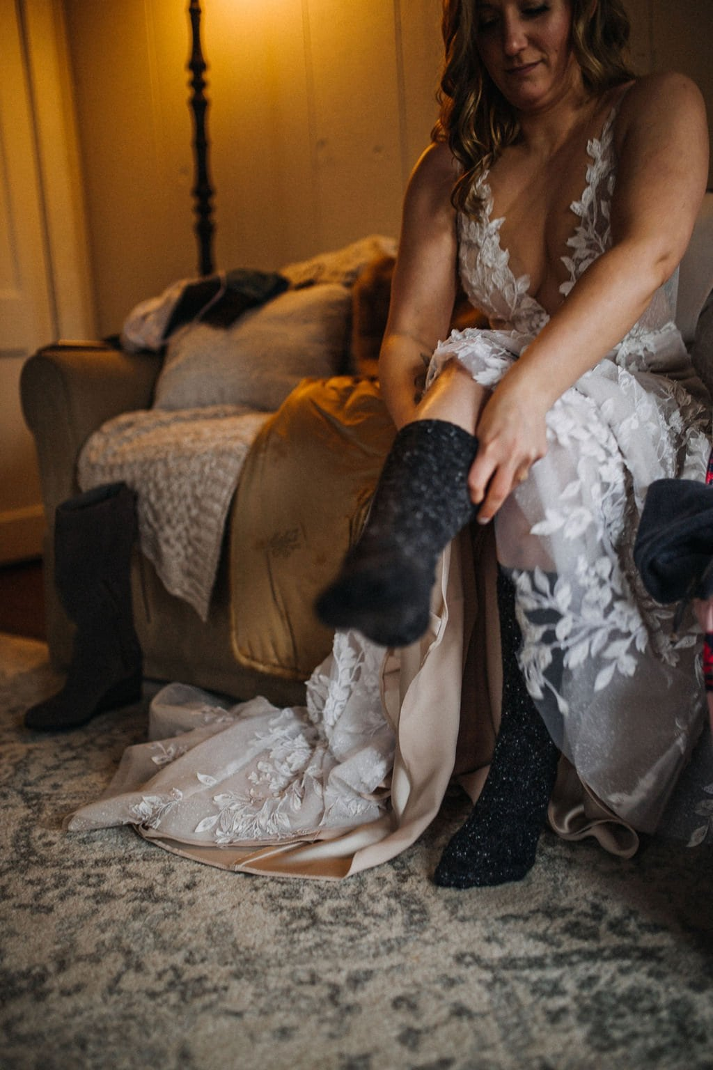 bride putting on socks