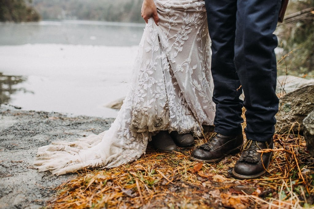 dirty elopement wedding dress