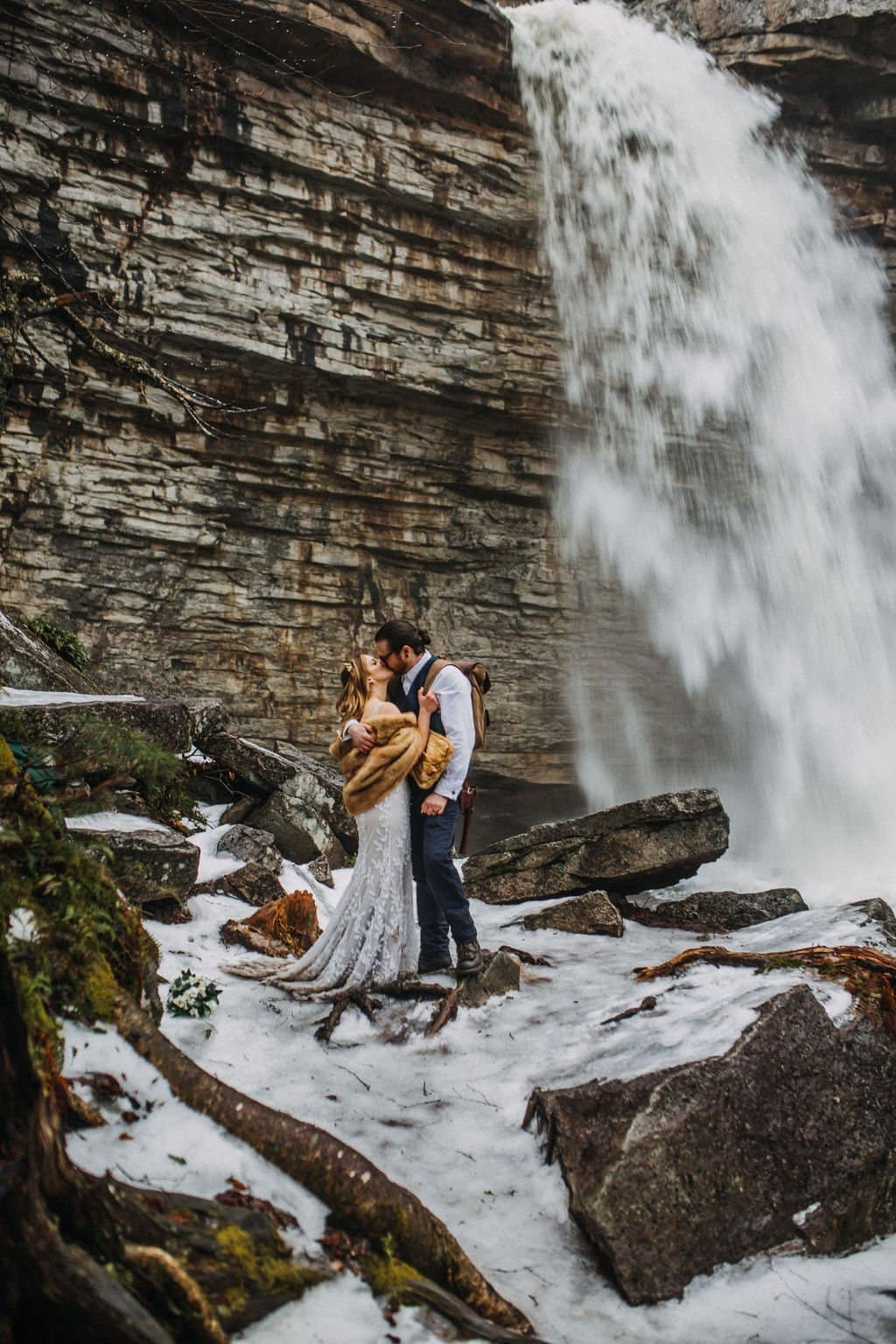 NY falls elopement adventure