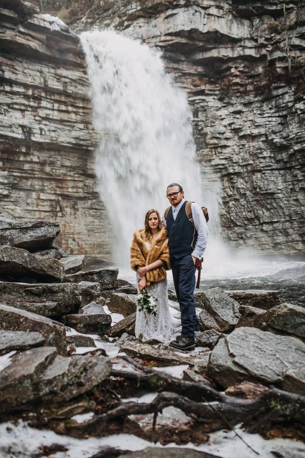 NY falls portraits of bride and groom