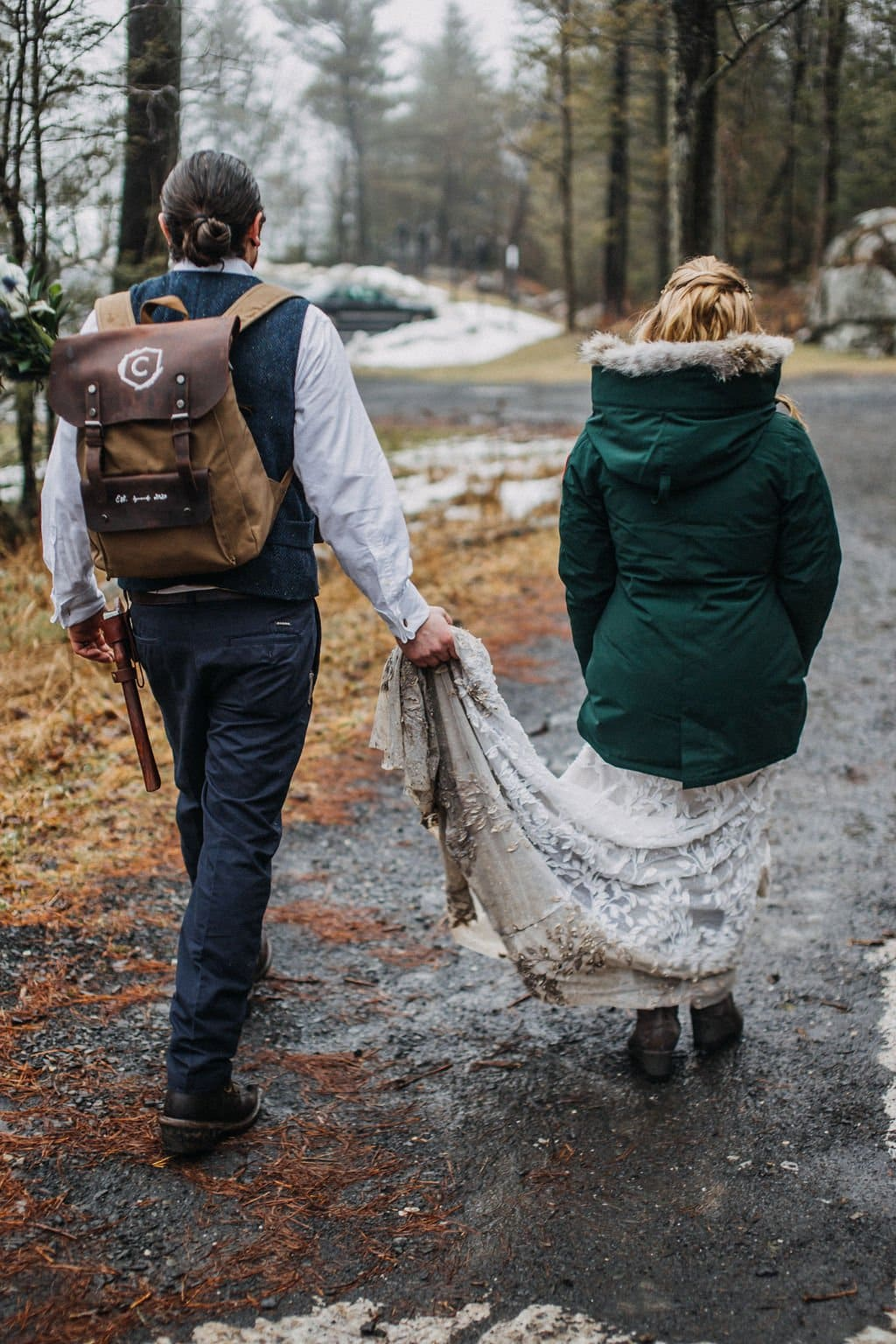 elopement couple in the woods