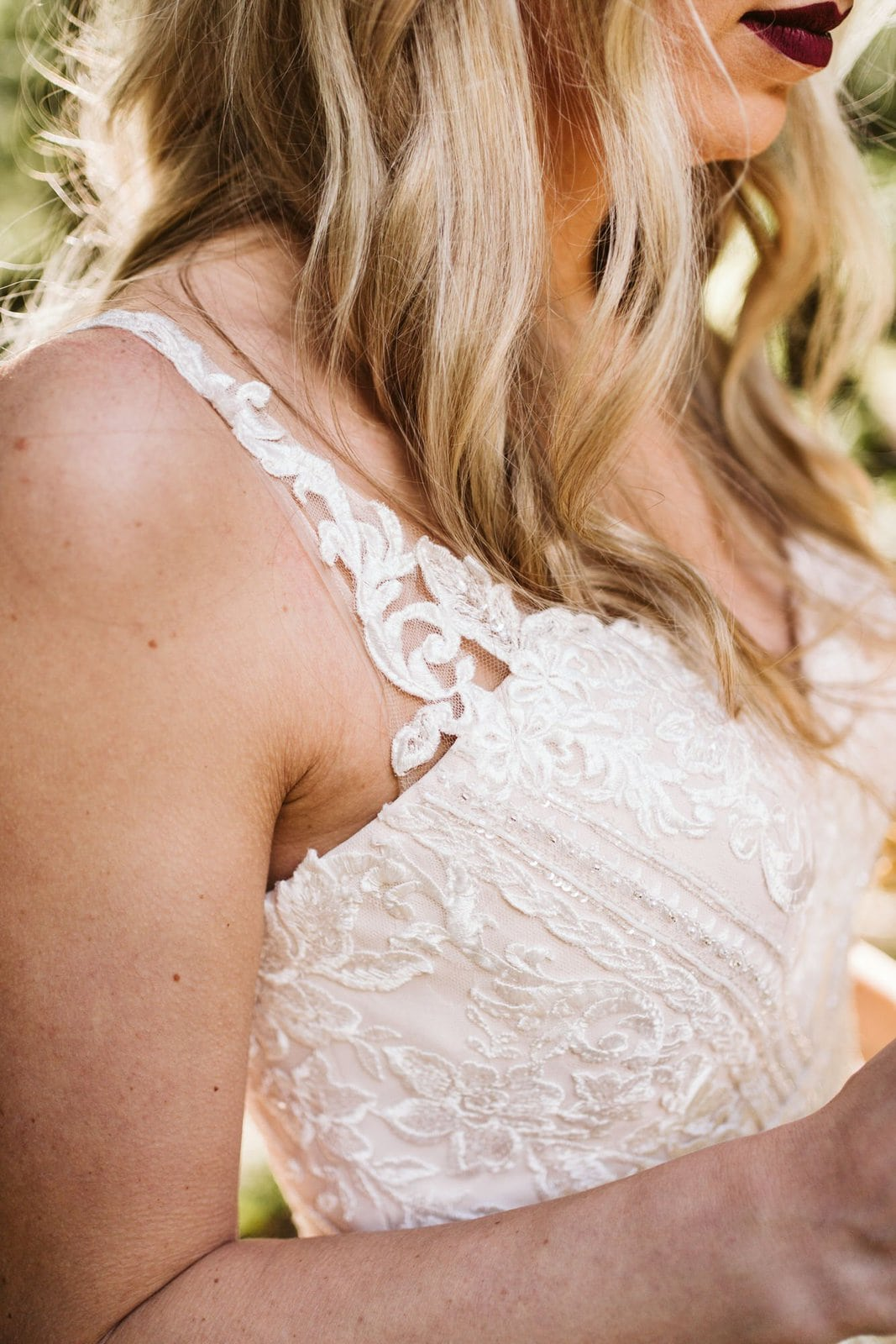 lace top detail of dress