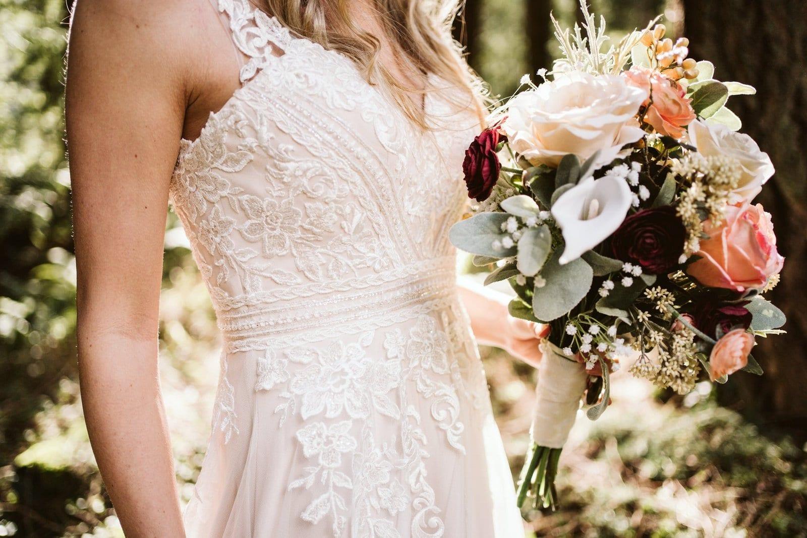 close up of boho bride