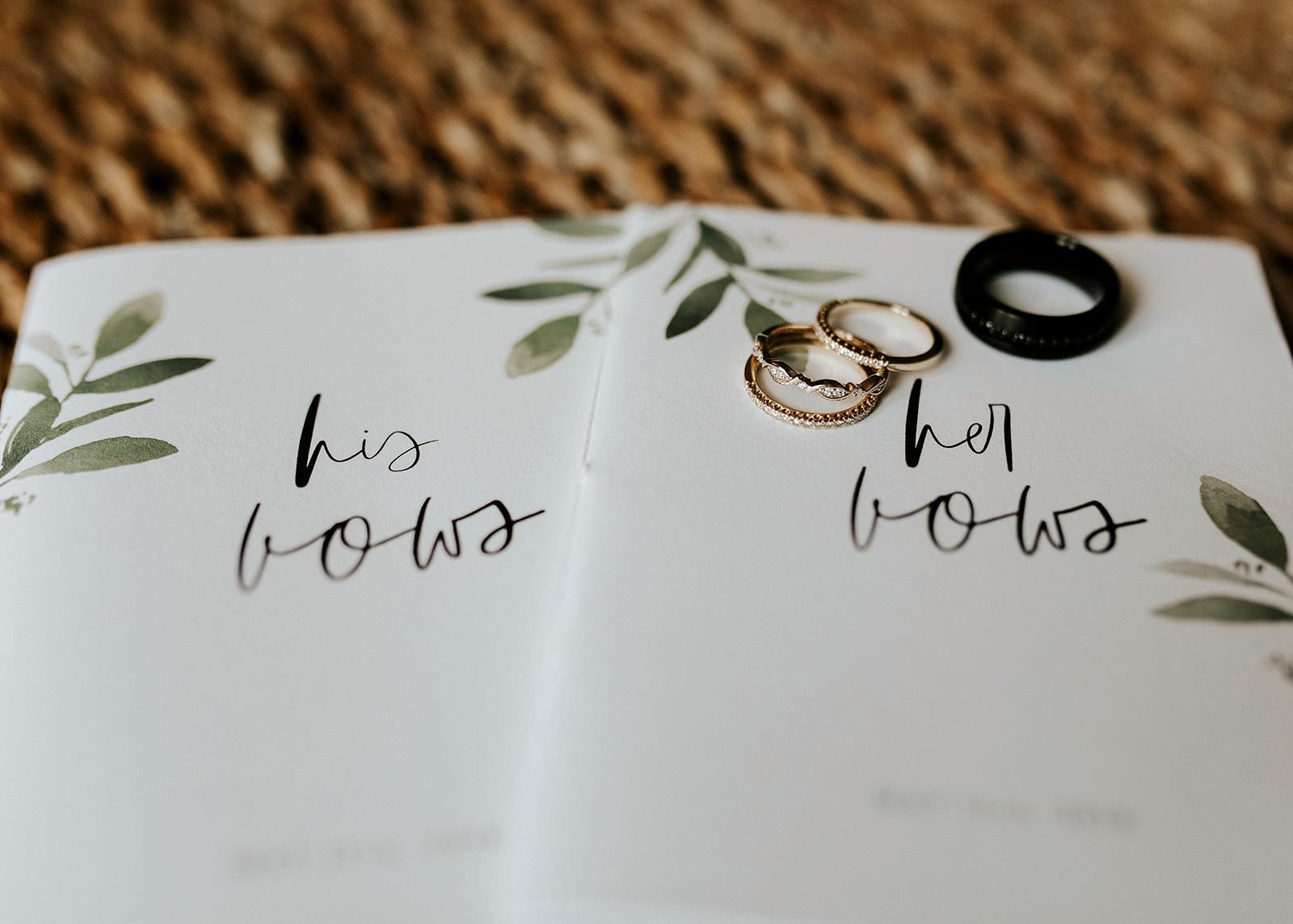 detail of bride and groom vows