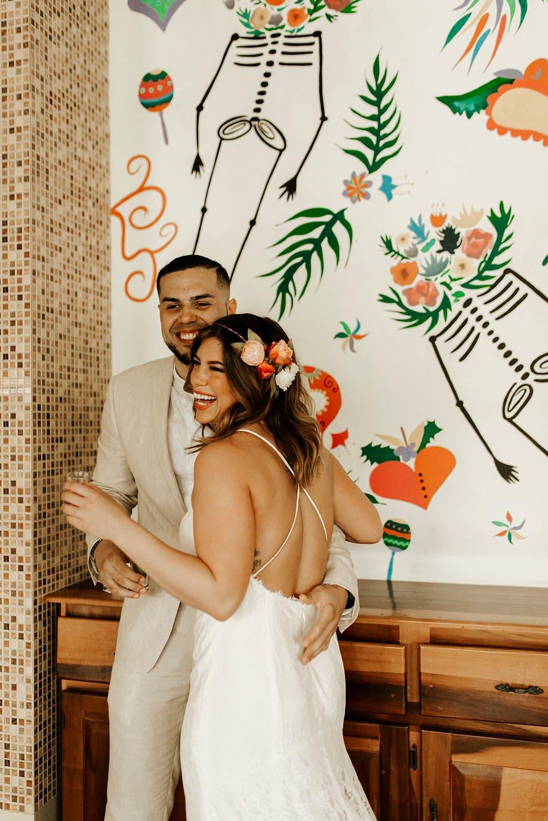 couple enjoying their wedding day