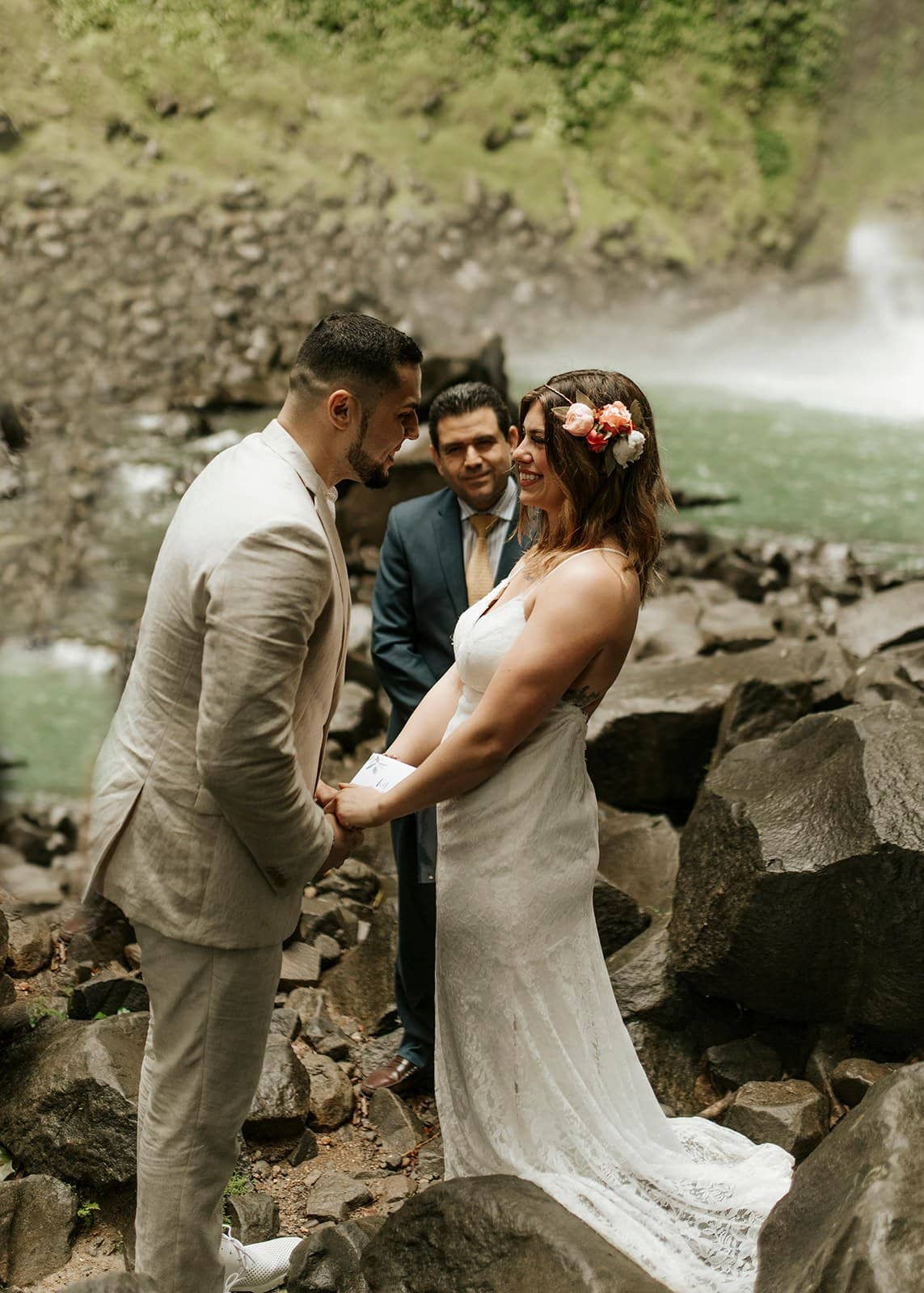 costa rica waterfall elopement ceremony