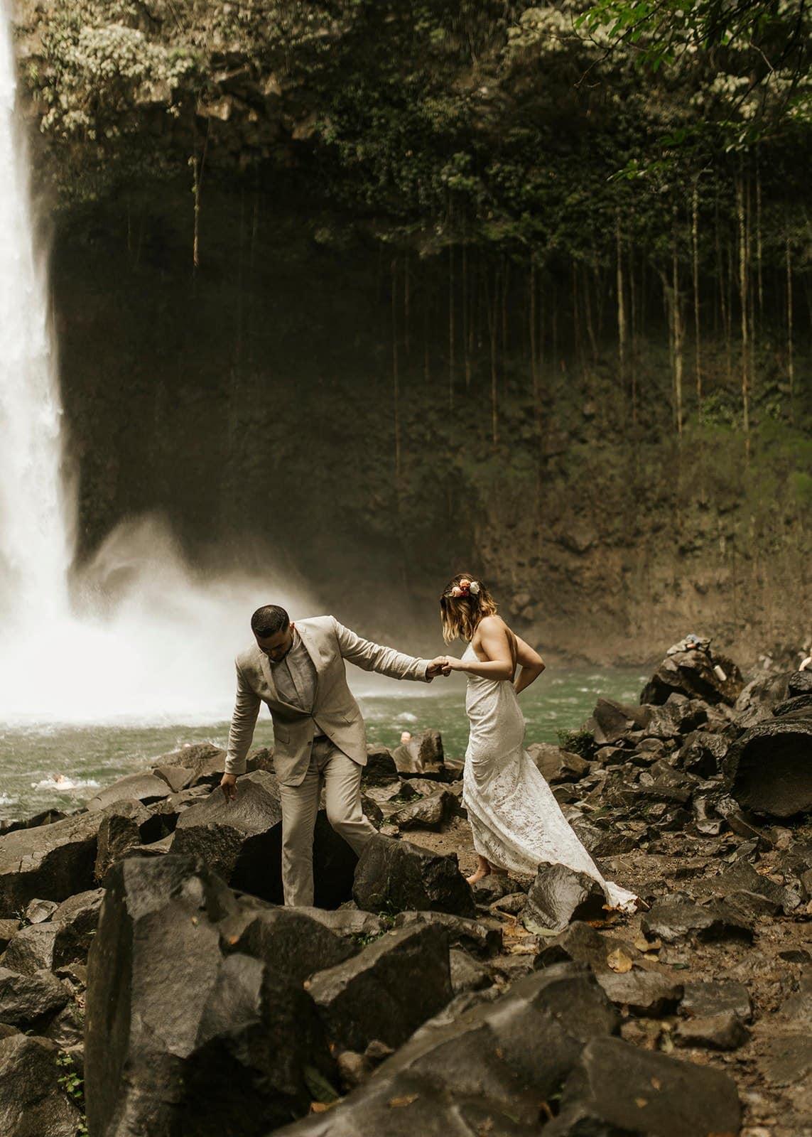 costa rica waterfall elopement adventure