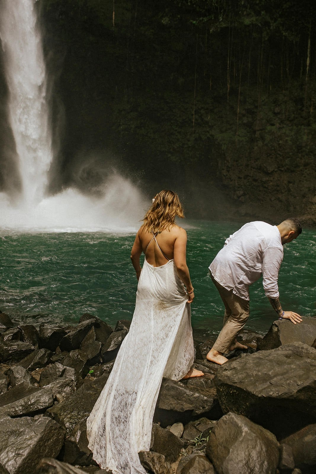costa rica elopement at waterfall