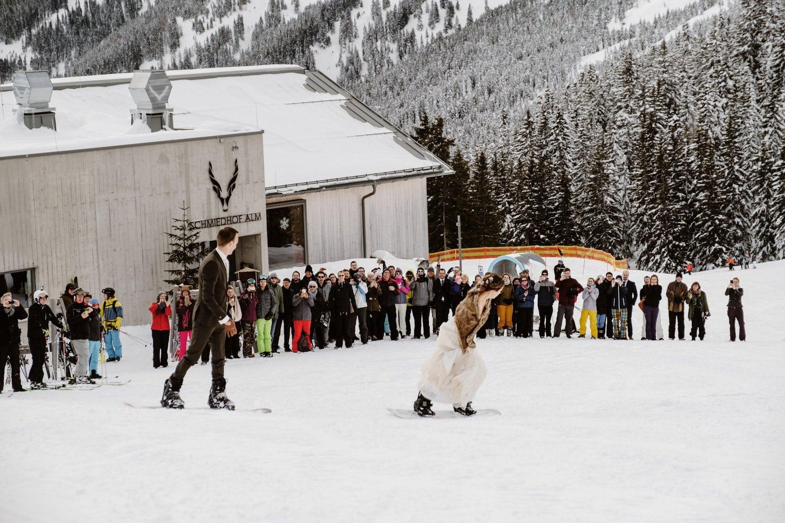 snowboard wedding portraits