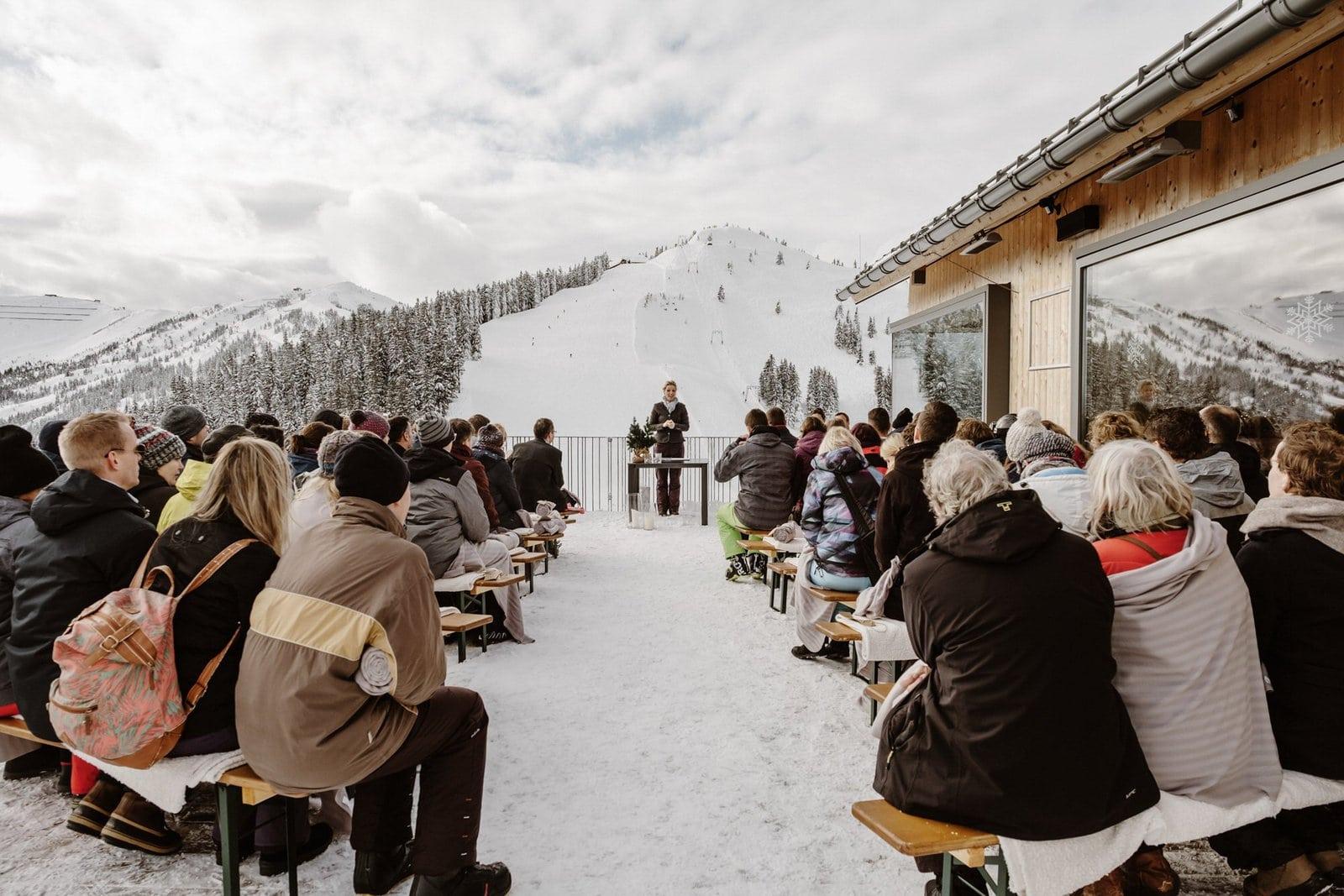 ceremony at winter wedding in Austria
