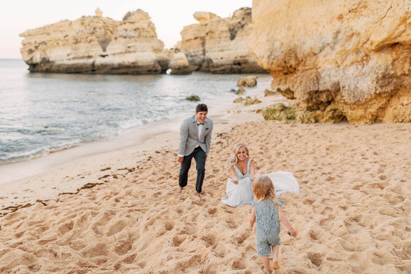 couple with daughter at vow renewal location