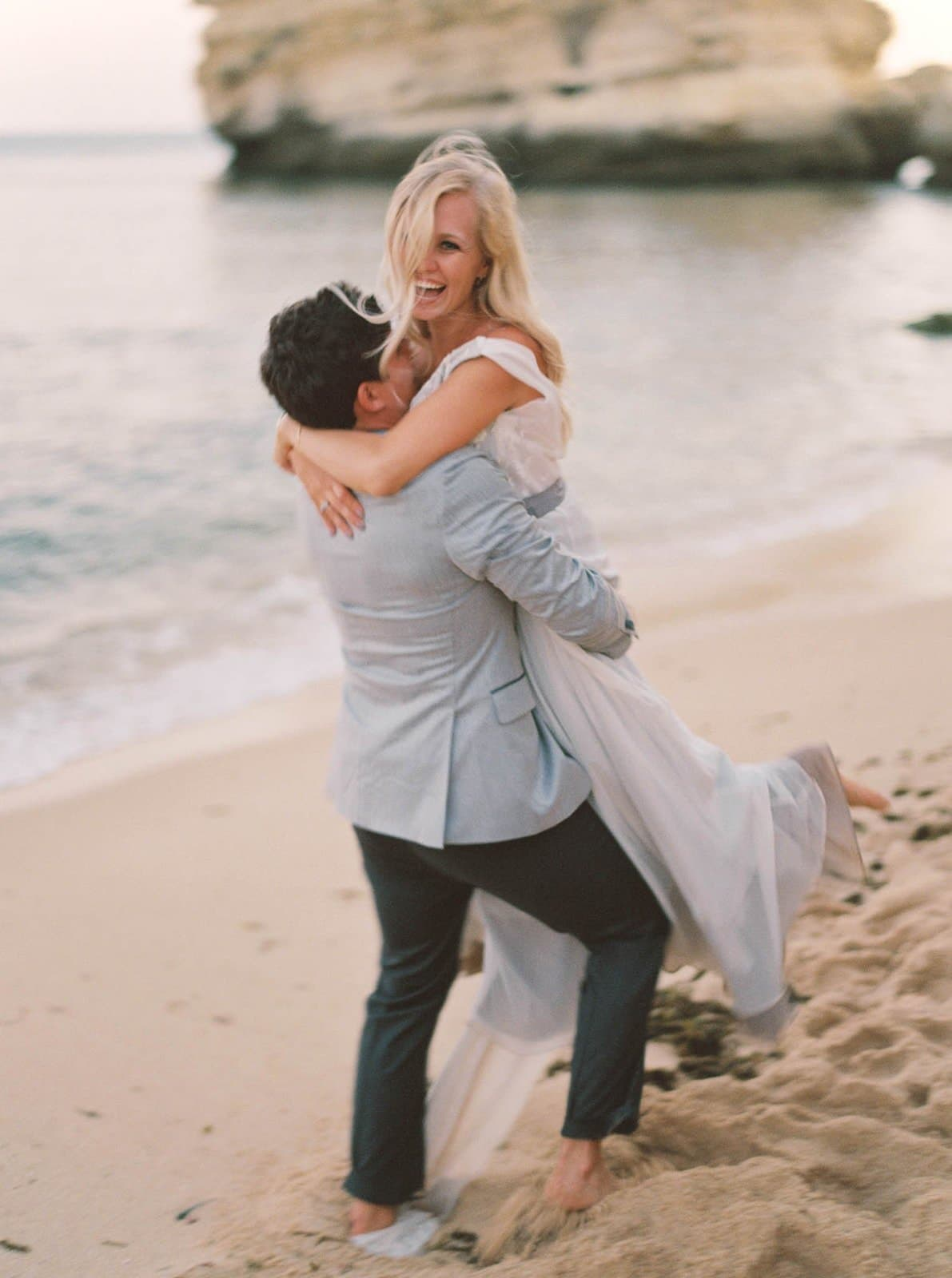 fun vow renewal at the beach