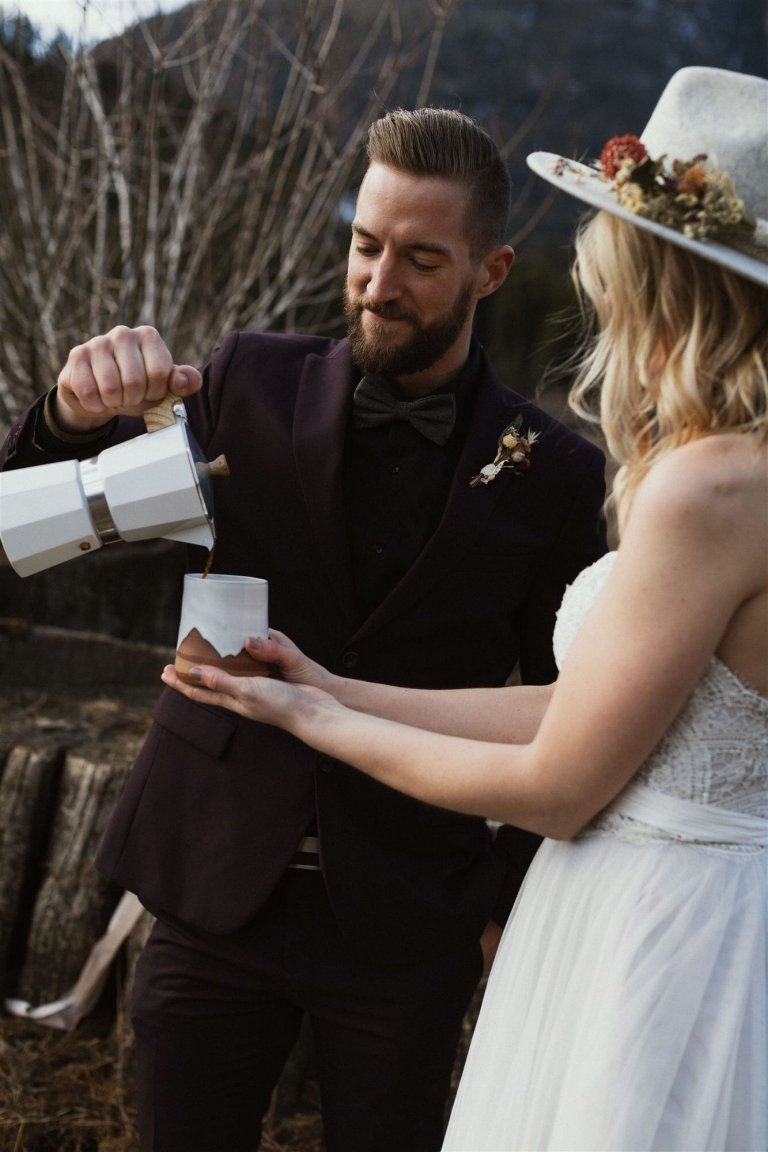 warm coffee during cold wedding day