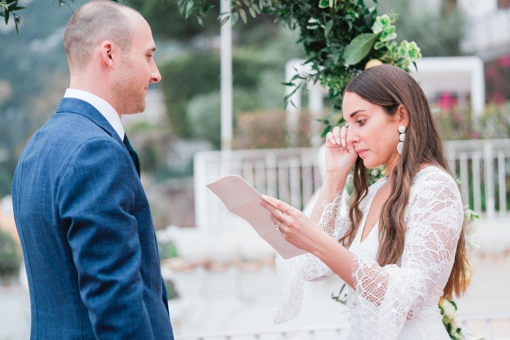 bride reading vows amalfi coast elopement