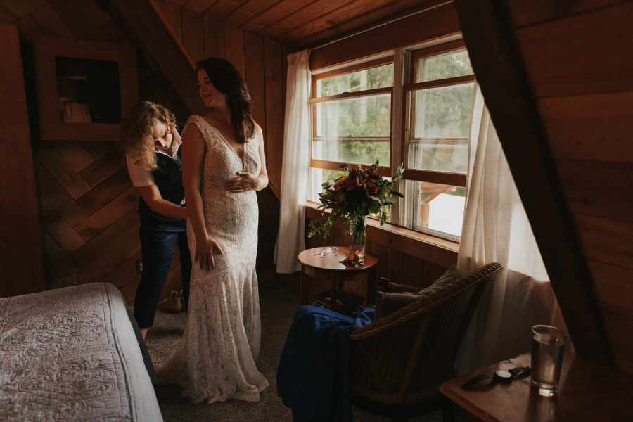 Ali & Sam get ready together at their Hood River cabin elopement