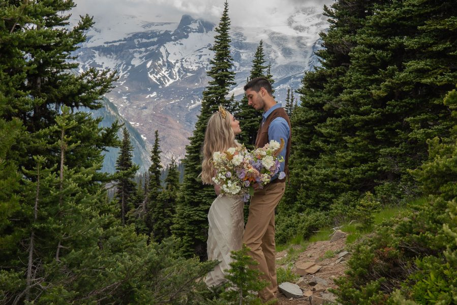 Keep your wedding small and intimate with Mount Rainier in the background