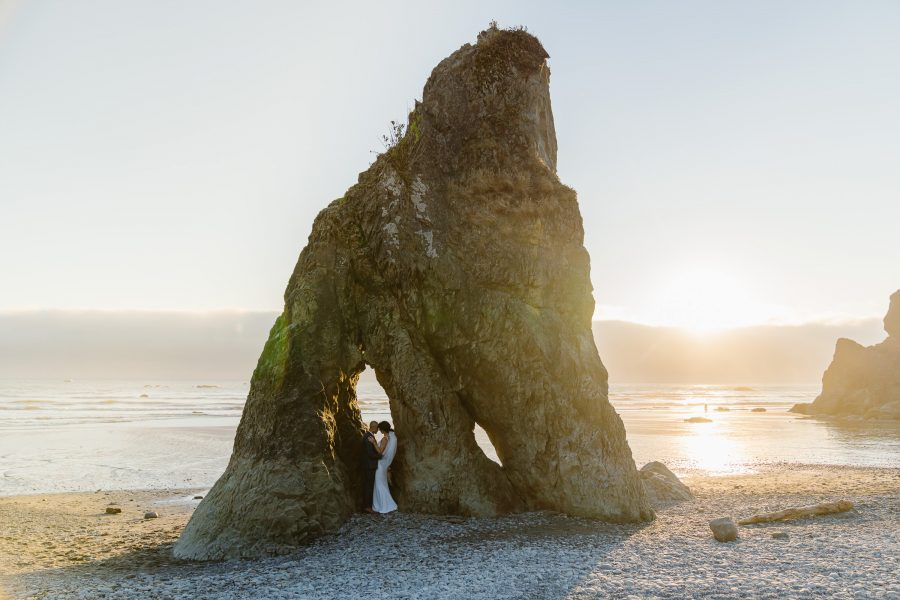 Couple enjoys Ruby Beach at sunset after exchanging vows with each other