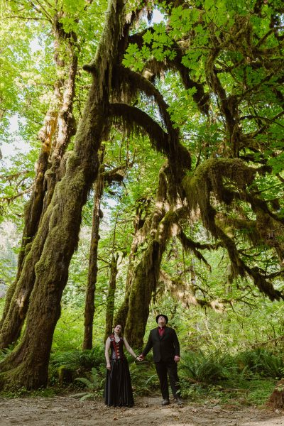 Having your elopement in the Hoh Rainforest is very magical