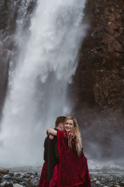 PNW waterfalls are amazing locations for your adventure elopement