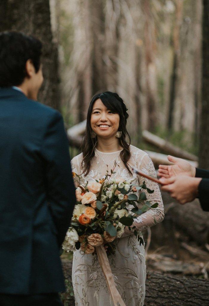 bride listening to vows