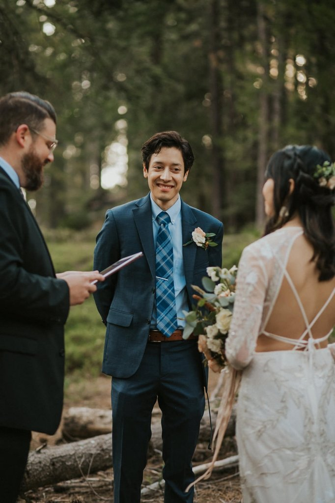 husband listening to vows