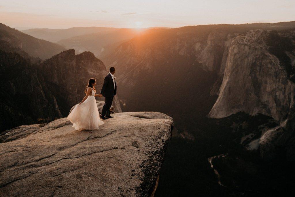 taft point sunset Yosemite wedding