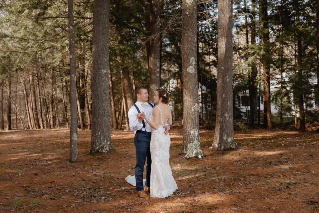 first dance at backyard elopement
