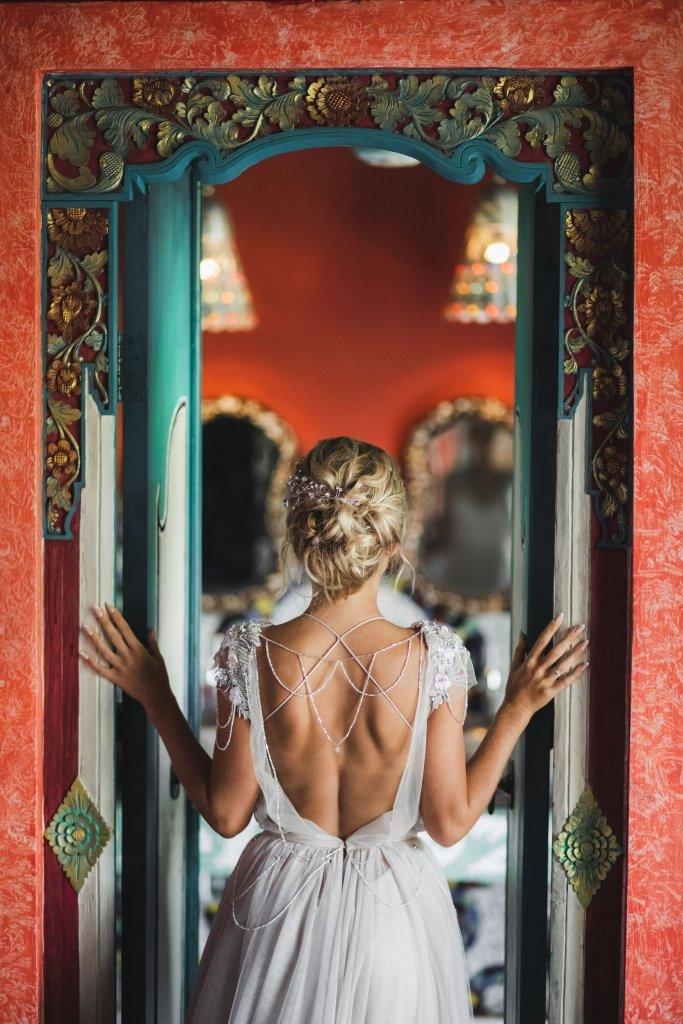 wedding dress detail in Bali elopement