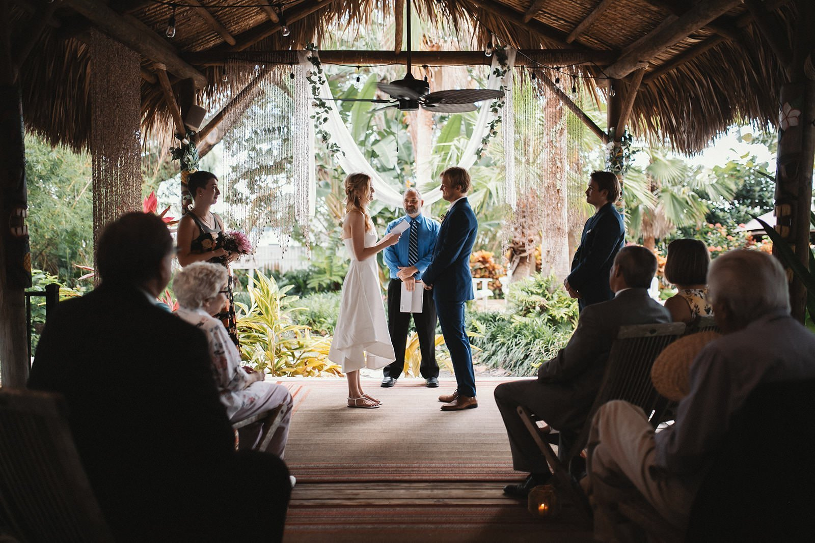 Dunedin, Florida Tiki Hut Cottage Airbnb wedding ceremony with close family and friends