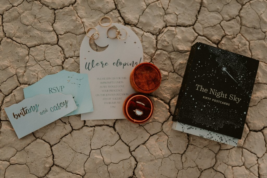 dry lake bed elopement celestial theme invitations