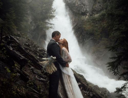 Waterfall Elopement Near Holland Lake in Montana