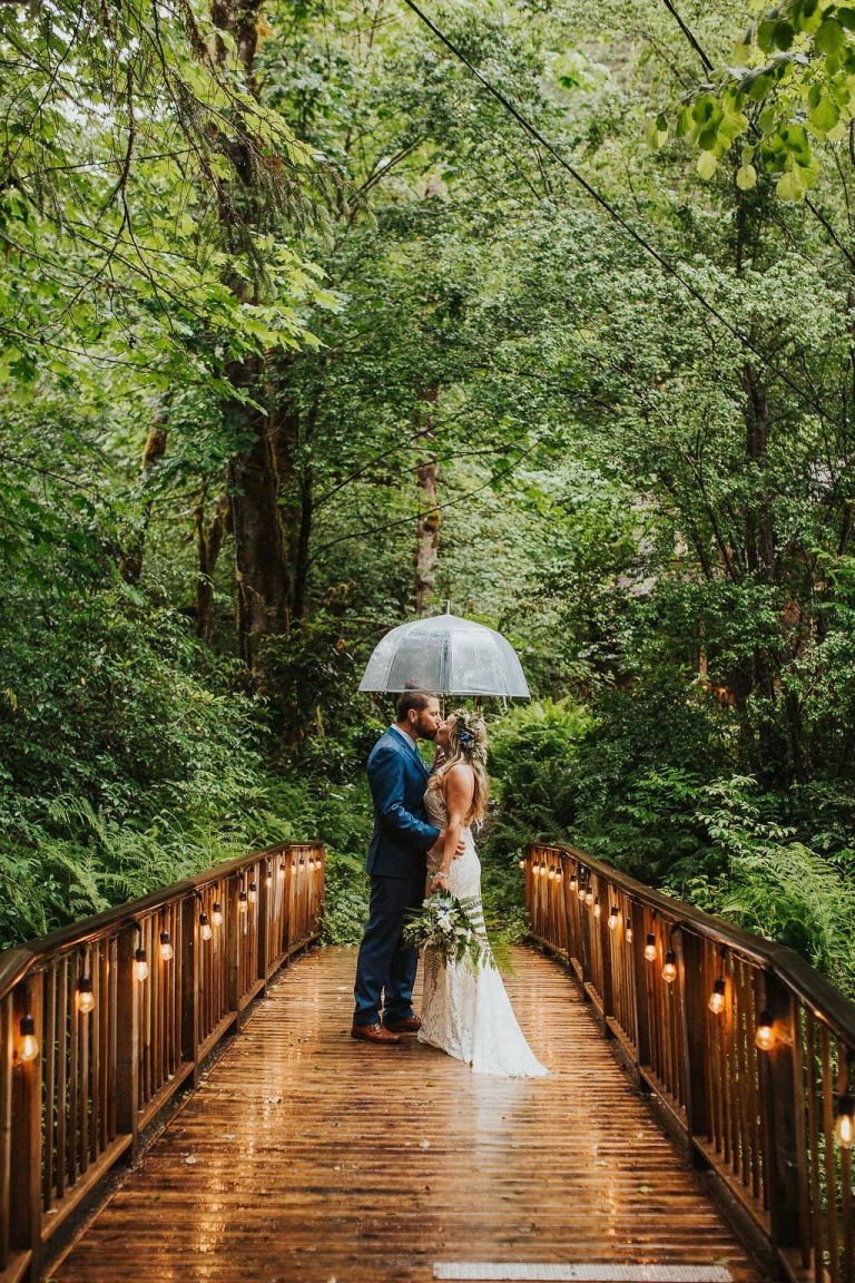 Rainy Oregon Forest Elopement at Airbnb