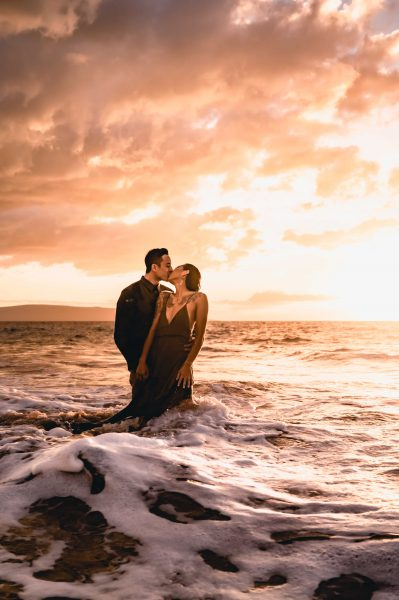 Passionate photograph of lovers in Maui