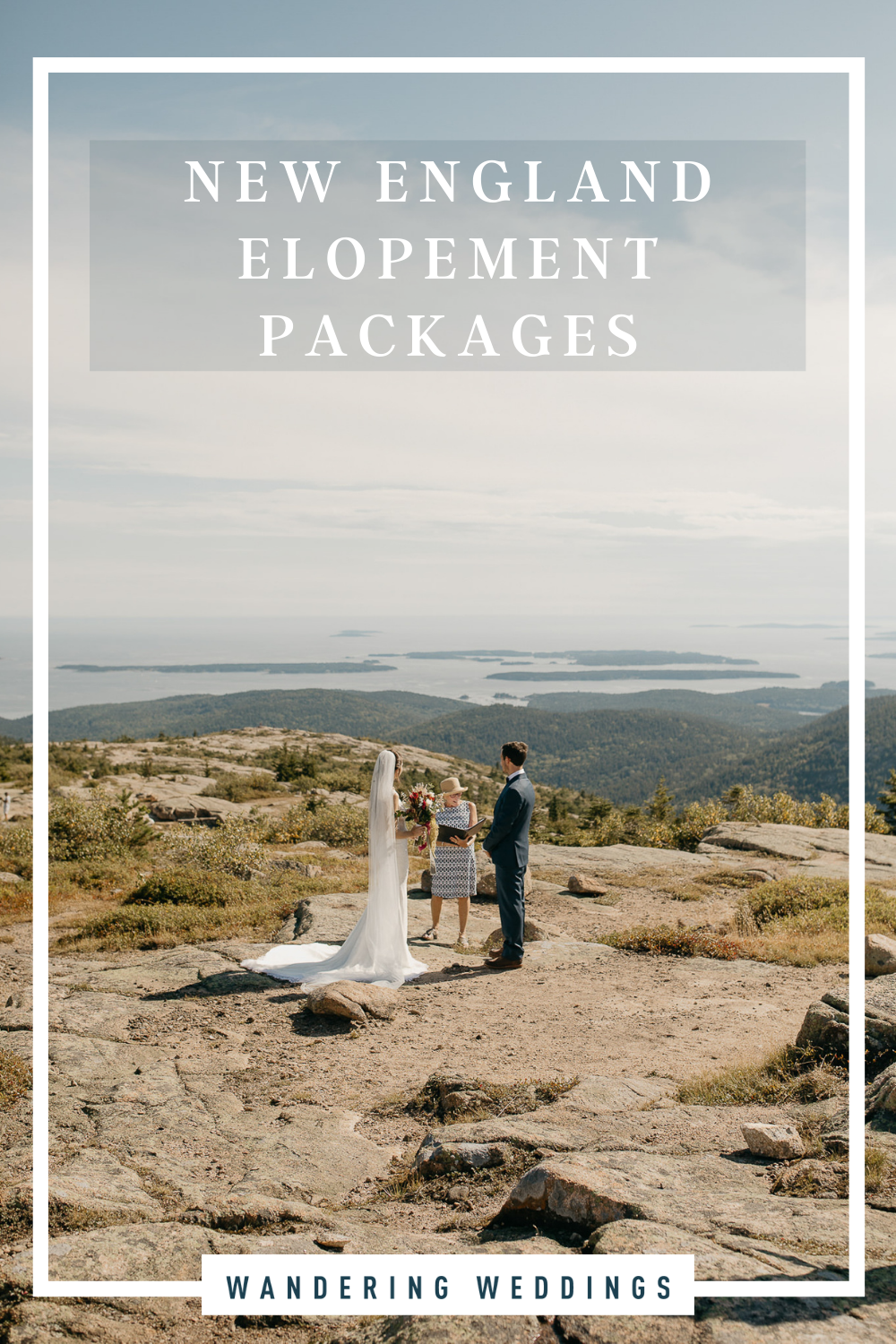 New England elopement package guide filled with elopement locations, vendors, and tips, photo of couple elopement ceremony in Acadia National Park