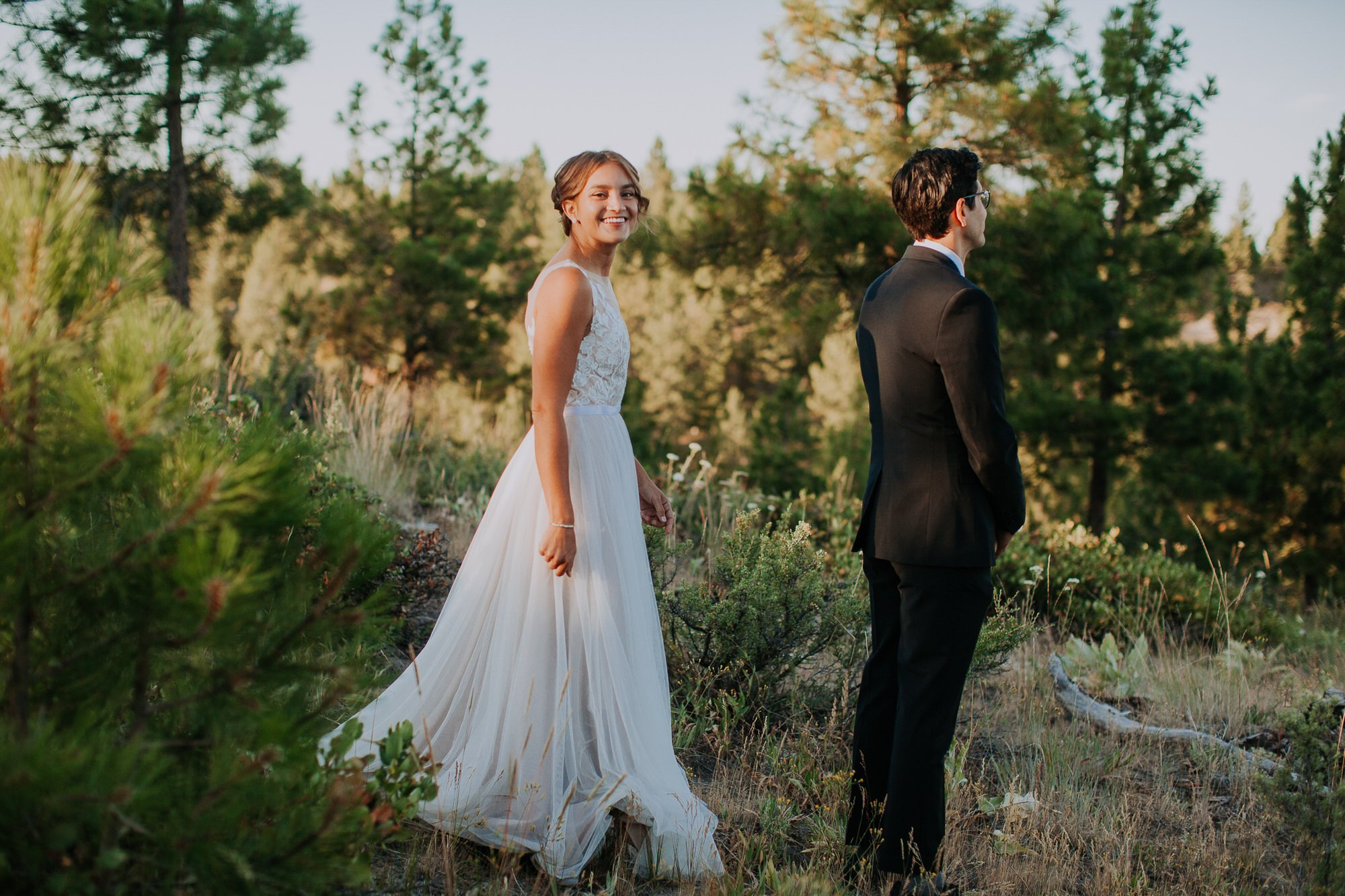 First look moment during elopement in Washington