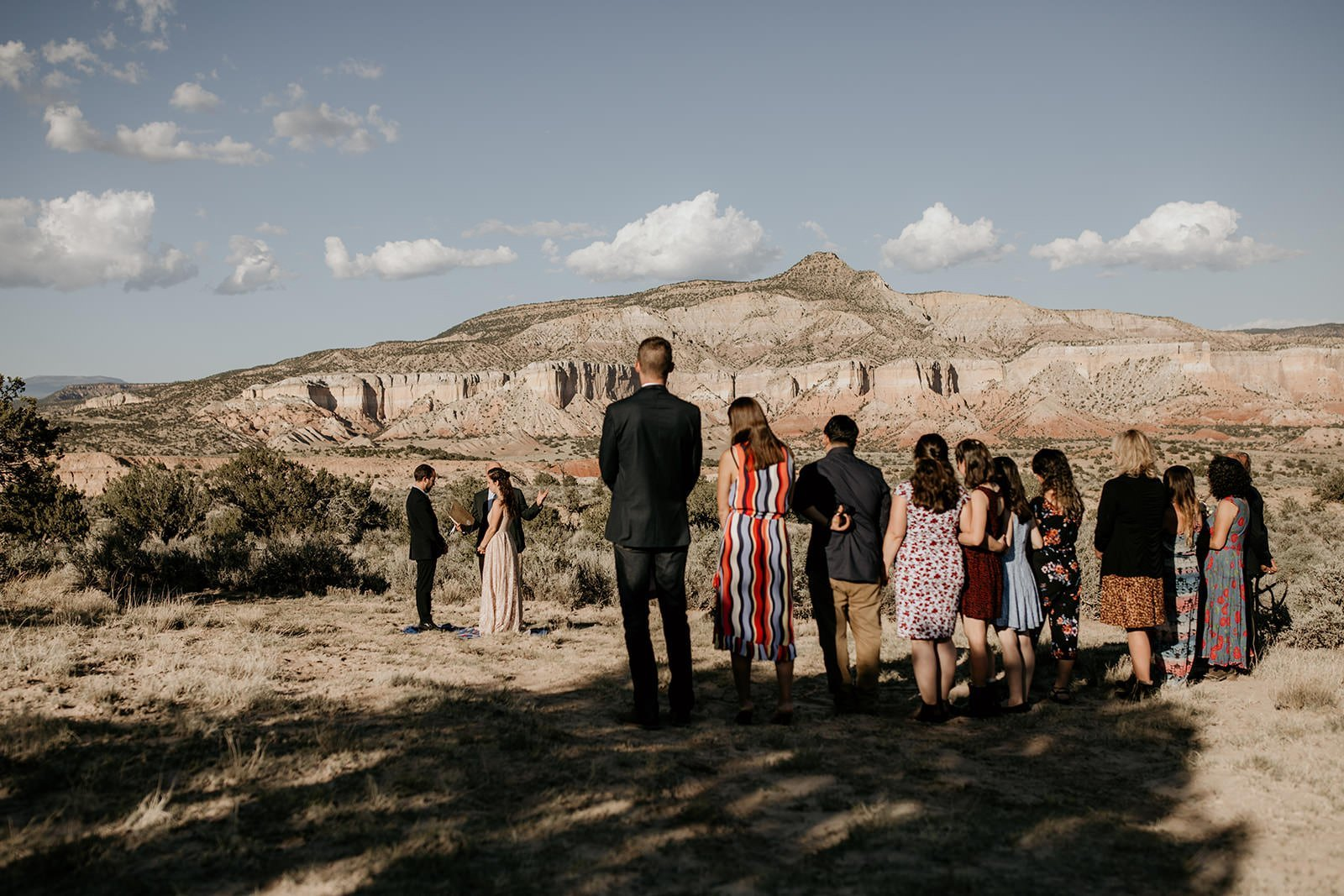mountain wedding view in New Mexico Abiquiu with family