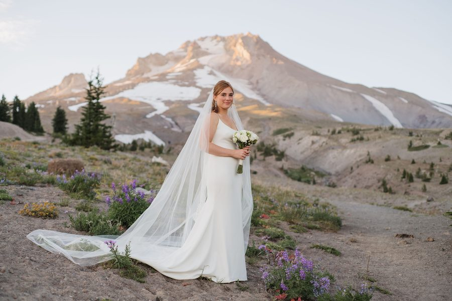 Bridal portraits during summer elopement at Timberline Lodge on Mt. Hood. Photo by Danielle Peterson Photography