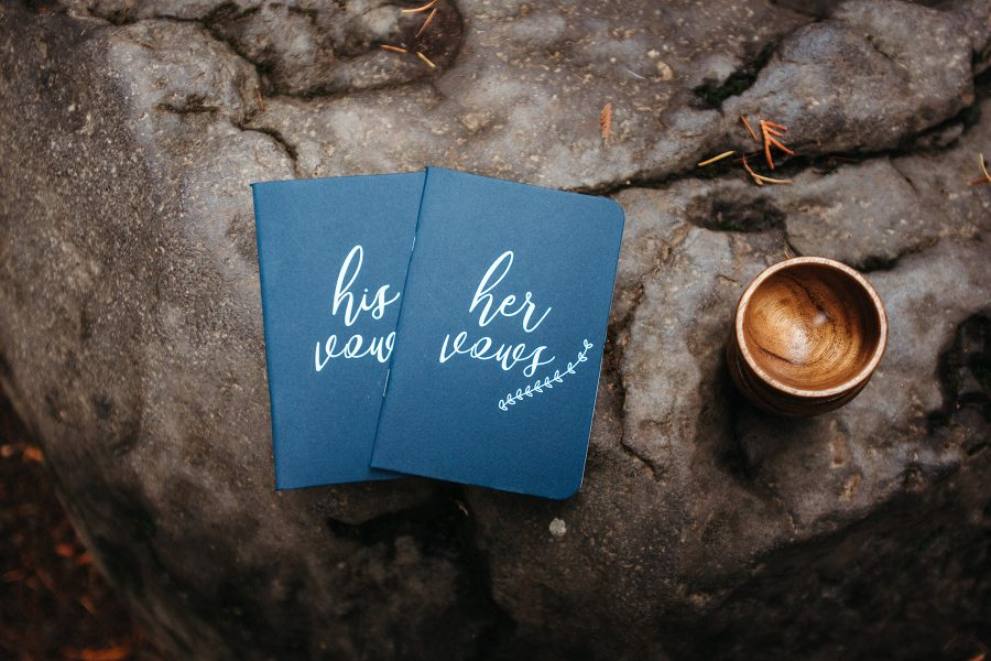 Vow books for waterfall elopement. Photo by Danielle Peterson Photography